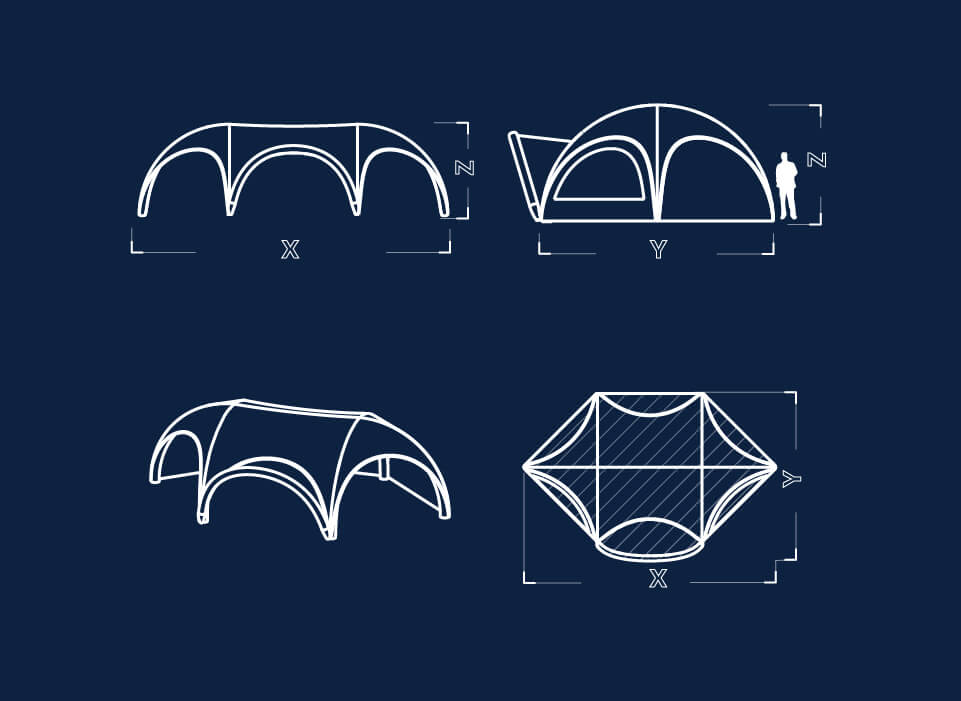 Information sketch of Hexa shape inflatable for event tent